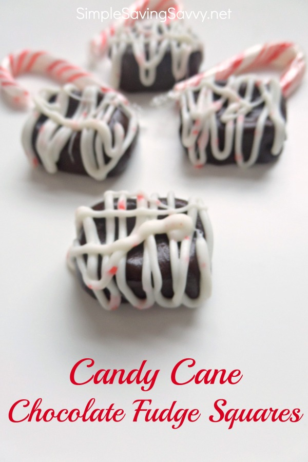 Candy Cane Chocolate Fudge Squares